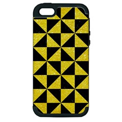 Triangle1 Black Marble & Gold Glitter Apple Iphone 5 Hardshell Case (pc+silicone)