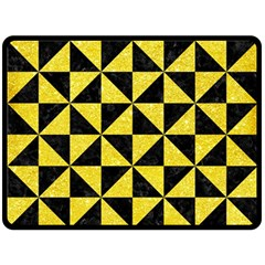 Triangle1 Black Marble & Gold Glitter Double Sided Fleece Blanket (large)