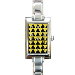 Triangle2 Black Marble & Gold Glitter Rectangle Italian Charm Watch