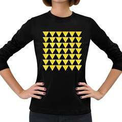 Triangle2 Black Marble & Gold Glitter Women s Long Sleeve Dark T Shirts