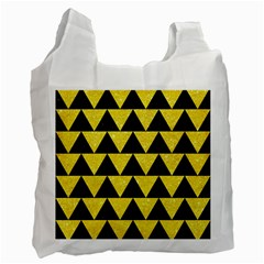 Triangle2 Black Marble & Gold Glitter Recycle Bag (two Side)