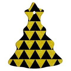 Triangle2 Black Marble & Gold Glitter Ornament (christmas Tree)