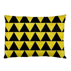 Triangle2 Black Marble & Gold Glitter Pillow Case (two Sides)