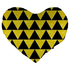Triangle2 Black Marble & Gold Glitter Large 19  Premium Heart Shape Cushions