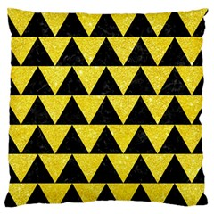 Triangle2 Black Marble & Gold Glitter Standard Flano Cushion Case (two Sides)
