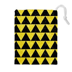 Triangle2 Black Marble & Gold Glitter Drawstring Pouches (extra Large)