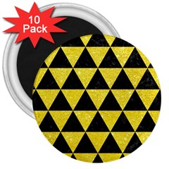 Triangle3 Black Marble & Gold Glitter 3  Magnets (10 Pack)