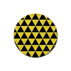 Triangle3 Black Marble & Gold Glitter Rubber Round Coaster (4 Pack)