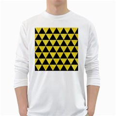 Triangle3 Black Marble & Gold Glitter White Long Sleeve T Shirts