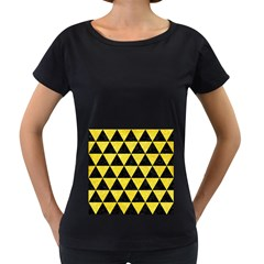 Triangle3 Black Marble & Gold Glitter Women s Loose Fit T Shirt (black)