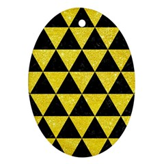 Triangle3 Black Marble & Gold Glitter Oval Ornament (two Sides)