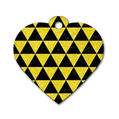 Triangle3 Black Marble & Gold Glitter Dog Tag Heart (two Sides)