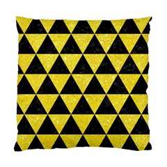 Triangle3 Black Marble & Gold Glitter Standard Cushion Case (two Sides)