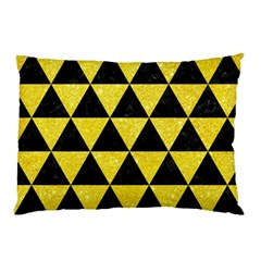 Triangle3 Black Marble & Gold Glitter Pillow Case (two Sides)