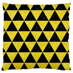 Triangle3 Black Marble & Gold Glitter Large Cushion Case (one Side)