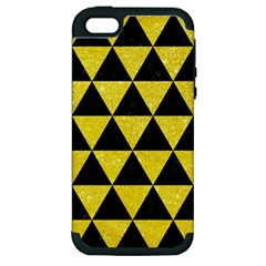 Triangle3 Black Marble & Gold Glitter Apple Iphone 5 Hardshell Case (pc+silicone)