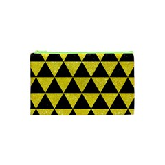 Triangle3 Black Marble & Gold Glitter Cosmetic Bag (xs)