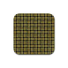 Woven1 Black Marble & Gold Glitter Rubber Coaster (square)