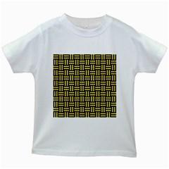 Woven1 Black Marble & Gold Glitter Kids White T Shirts