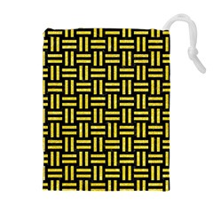 Woven1 Black Marble & Gold Glitter Drawstring Pouches (extra Large)