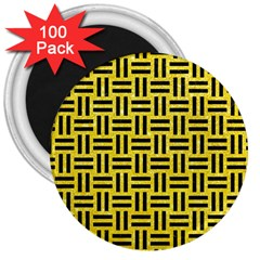 Woven1 Black Marble & Gold Glitter (r) 3  Magnets (100 Pack)
