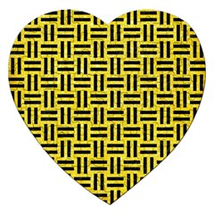 Woven1 Black Marble & Gold Glitter (r) Jigsaw Puzzle (heart)