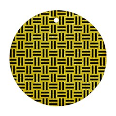 Woven1 Black Marble & Gold Glitter (r) Round Ornament (two Sides)
