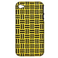Woven1 Black Marble & Gold Glitter (r) Apple Iphone 4/4s Hardshell Case (pc+silicone)