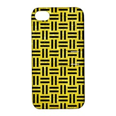 Woven1 Black Marble & Gold Glitter (r) Apple Iphone 4/4s Hardshell Case With Stand