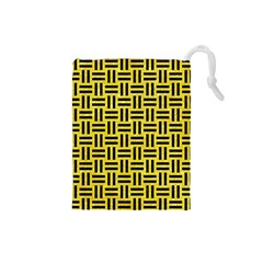 Woven1 Black Marble & Gold Glitter (r) Drawstring Pouches (small)