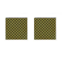 Woven2 Black Marble & Gold Glitter Cufflinks (square)