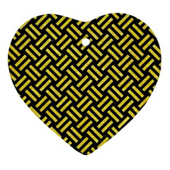 Woven2 Black Marble & Gold Glitter Heart Ornament (two Sides)