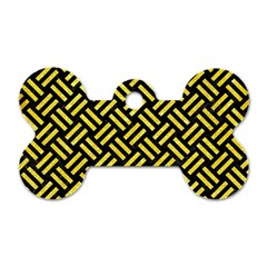 Woven2 Black Marble & Gold Glitter Dog Tag Bone (two Sides)