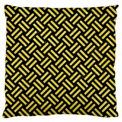 Woven2 Black Marble & Gold Glitter Large Flano Cushion Case (two Sides)