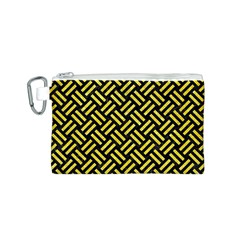 Woven2 Black Marble & Gold Glitter Canvas Cosmetic Bag (s)
