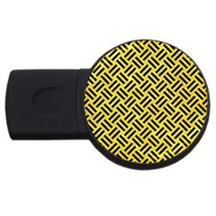 Woven2 Black Marble & Gold Glitter (r) Usb Flash Drive Round (4 Gb)