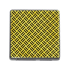 Woven2 Black Marble & Gold Glitter (r) Memory Card Reader (square)