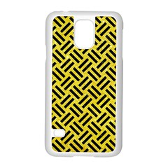 Woven2 Black Marble & Gold Glitter (r) Samsung Galaxy S5 Case (white)
