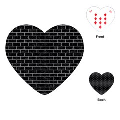 Brick1 Black Marble & Gray Colored Pencil Playing Cards (heart)