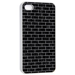 Brick1 Black Marble & Gray Colored Pencil Apple Iphone 4/4s Seamless Case (white)