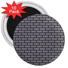 Brick1 Black Marble & Gray Colored Pencil (r) 3  Magnets (10 Pack)