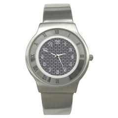 Brick1 Black Marble & Gray Colored Pencil (r) Stainless Steel Watch