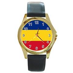 Gozarto Flag Round Gold Metal Watch