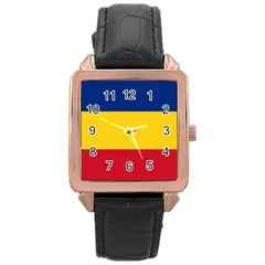 Gozarto Flag Rose Gold Leather Watch