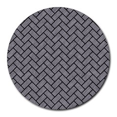 Brick2 Black Marble & Gray Colored Pencil (r) Round Mousepads