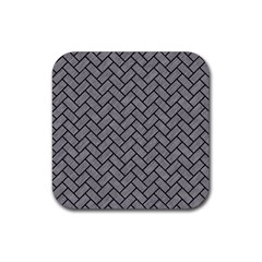 Brick2 Black Marble & Gray Colored Pencil (r) Rubber Square Coaster (4 Pack)