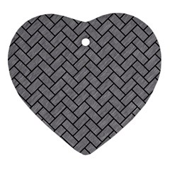 Brick2 Black Marble & Gray Colored Pencil (r) Heart Ornament (two Sides)