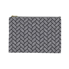Brick2 Black Marble & Gray Colored Pencil (r) Cosmetic Bag (large)