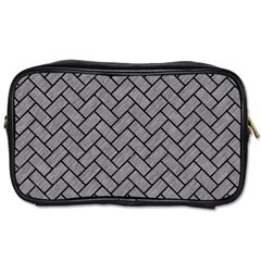Brick2 Black Marble & Gray Colored Pencil (r) Toiletries Bags 2 Side