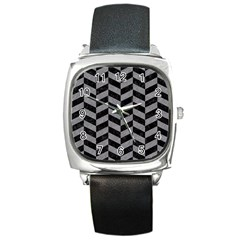 Chevron1 Black Marble & Gray Colored Pencil Square Metal Watch